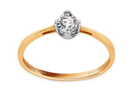 Gold Engagement Ring with Diamond 0.070 ct Leontine