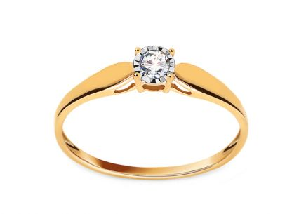 Gold Engagement Ring with Diamond 0.080 ct Idalis