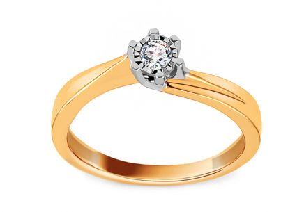 Gold Engagement Ring with Diamond 0.080 ct Nadira
