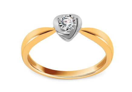 Gold Engagement Ring with Diamond 0.080 ct Netanya