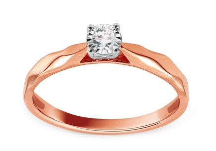 Gold Engagement Ring with Diamond 0.080 ct Rachelle Rose