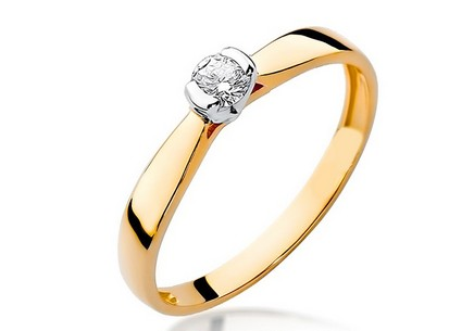 Gold Engagement Ring with Diamond 0.100 ct Adair 2