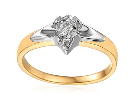 Gold Engagement Ring with Diamond 0.100 ct Always