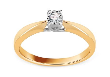 Gold Engagement Ring with Diamond 0.100 ct Eligia