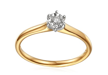 Gold Engagement Ring with Diamond 0.100 ct Navi