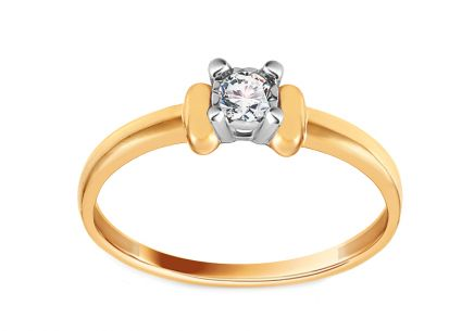 Gold Engagement Ring with Diamond 0.100 ct Orlina