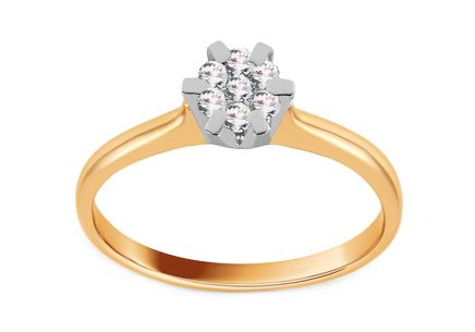 Gold Engagement Ring with Diamond 0.130 ct Arlette