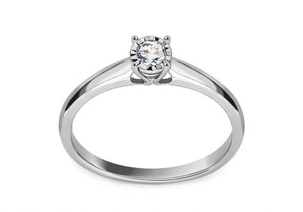 Gold Engagement Ring with Diamond 0.130 ct Nichol
