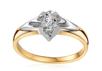 Gold Engagement Ring with Diamond 0.150 ct Always