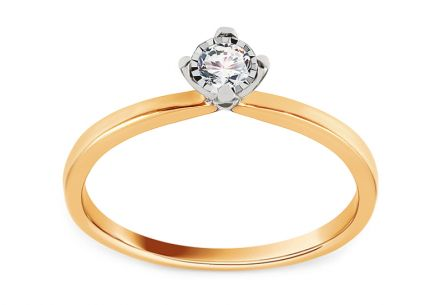 Gold Engagement Ring with Diamond 0.150 ct Davignon