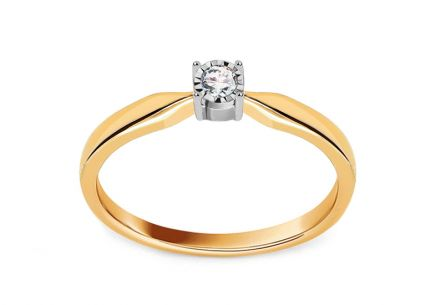 Gold engagement ring with diamond Aliah 0.050 ct