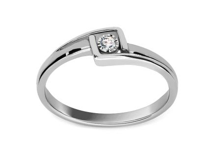 Gold Engagement Ring with Diamond Bailey white 0.040 ct