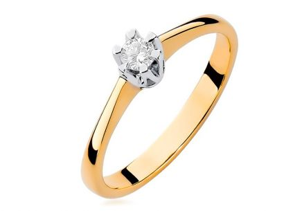 Gold Engagement Ring with Diamond Devora
