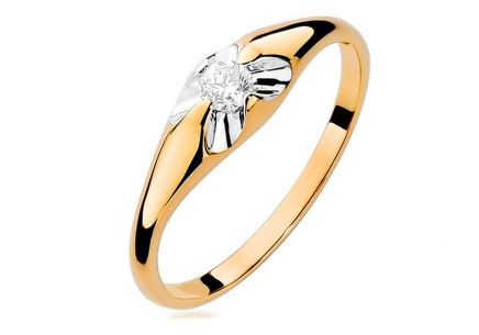 Gold engagement ring with diamond Fiorenza 0,100ct