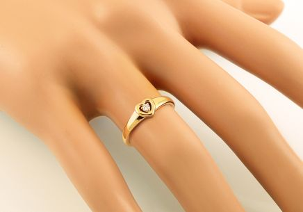 Gold Engagement Ring with Diamond Heart Emmelie