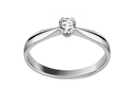 Gold Engagement Ring with Diamond Millie white