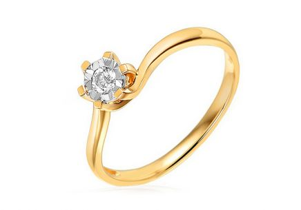 Gold Engagement Ring with Diamond Nelle