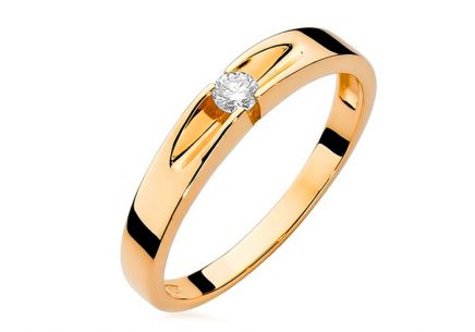 Gold Engagement Ring with Diamond Ofelia