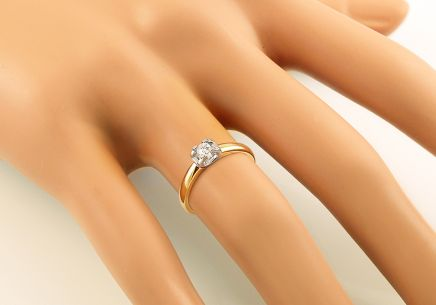 Gold Engagement Ring with Diamond Zoé