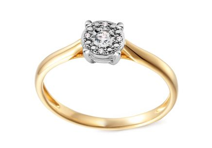 Gold Engagement Ring with Diamonds 0.040 ct Adalira