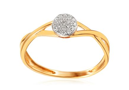 Gold Engagement Ring with Diamonds 0.040 ct Amora