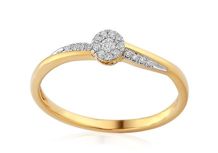 Gold Engagement Ring with Diamonds 0.070 ct Enolla