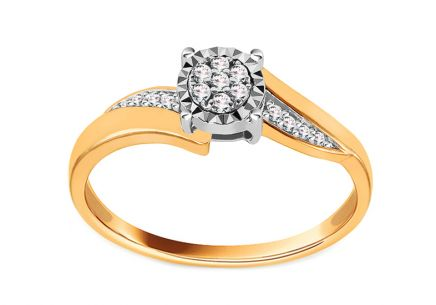 Gold Engagement Ring with Diamonds 0.070 ct Maddie