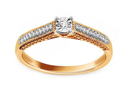 Gold Engagement Ring with Diamonds 0.080 ct Armandy