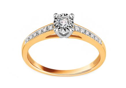 Gold Engagement Ring with Diamonds 0.100 ct Addae