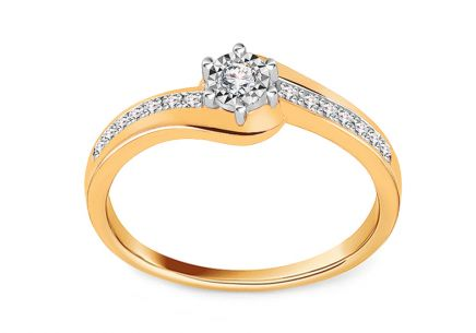 Gold Engagement Ring with Diamonds 0.100 ct Ameline