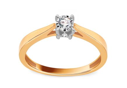Gold Engagement Ring with Diamonds 0.100 ct Ancolia