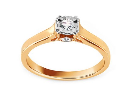 Gold Engagement Ring with Diamonds 0.100 ct Halea