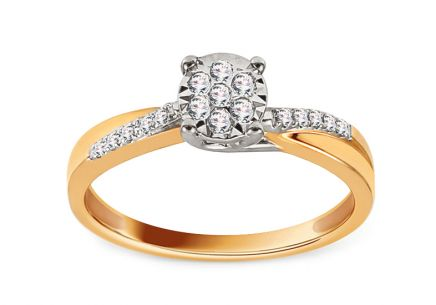 Gold Engagement Ring with Diamonds 0.100 ct Meris