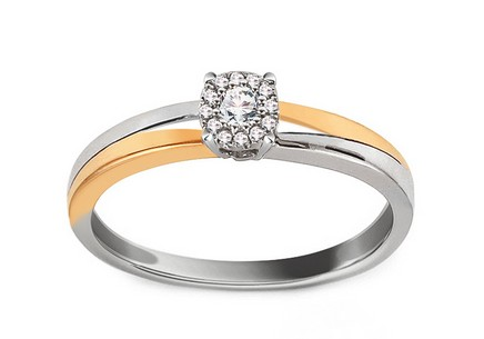 Gold Engagement Ring with Diamonds 0.100 ct Muriel