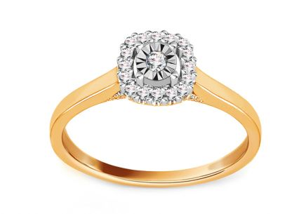 Gold Engagement Ring with Diamonds 0.110 ct Kasiana