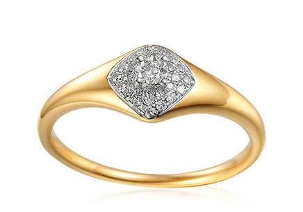 Gold Engagement Ring with Diamonds 0.120 ct Aidene