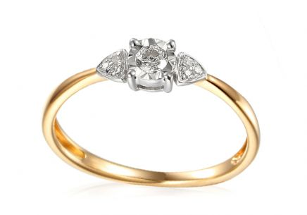 Gold Engagement Ring with Diamonds 0.120 ct Francine