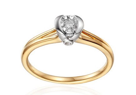 Gold Engagement Ring with Diamonds 0.120 ct Marely