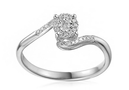 Gold Engagement Ring with Diamonds 0.130 ct Cherri white