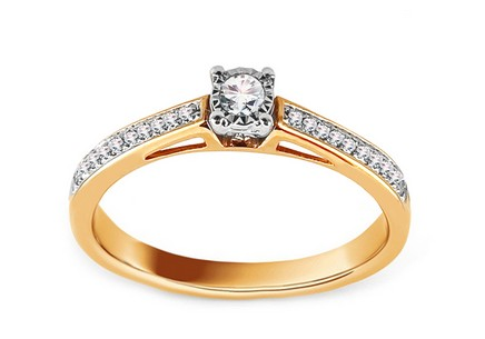 Gold Engagement Ring with Diamonds 0.140 ct Halsey
