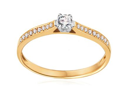 Gold Engagement Ring with Diamonds 0.150 ct Adel