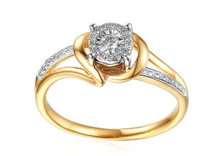 Gold Engagement Ring with Diamonds 0.150 ct Mabel 2