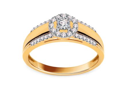 Gold Engagement Ring with Diamonds 0.250 ct Tailyn 2