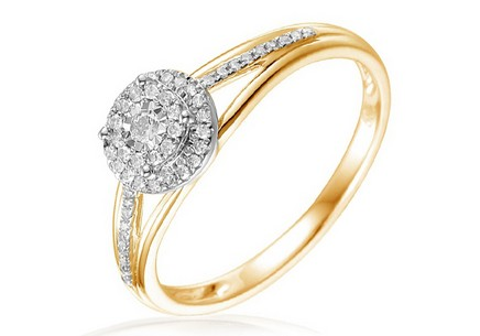 Gold Engagement Ring with Diamonds Gaia