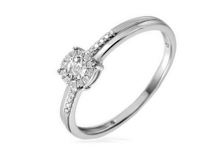 Gold engagement ring with diamonds Loralei white 0.100 ct