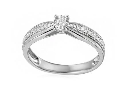 Gold Engagement Ring with Diamonds Maya white