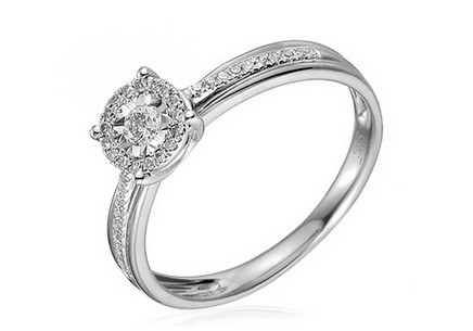 Gold Engagement Ring with Diamonds Oliveira white