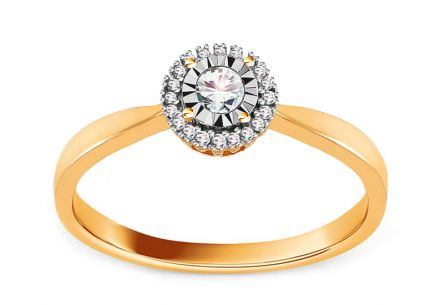 Gold Engagement Ring with Diamonds Sarai