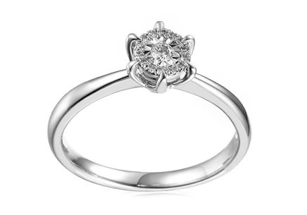 Gold Engagement Ring with Diamonds Yalena white