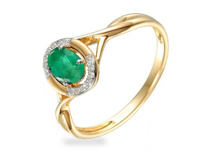 Gold Engagement Ring with Emerald and Diamonds 0.040 ct Kesidy 2